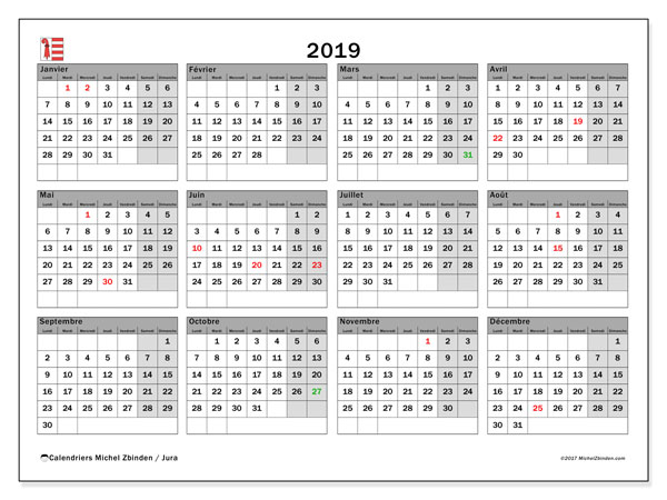 Calendrier 2019 - Jura. Calendrier à imprimer : jours fériés officiels.