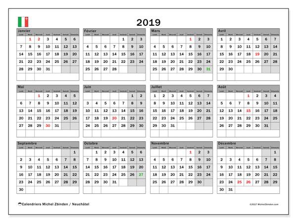 Calendrier 2019, avec les jours fériés du Canton de Neuchâtel. Organisateur à imprimer gratuit.