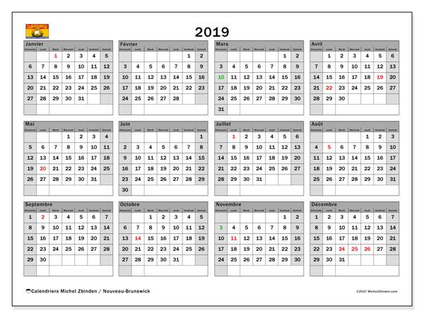 Calendrier 2019, avec les jours fériés du Nouveau-Brunswick. Calendrier gratuit à imprimer.