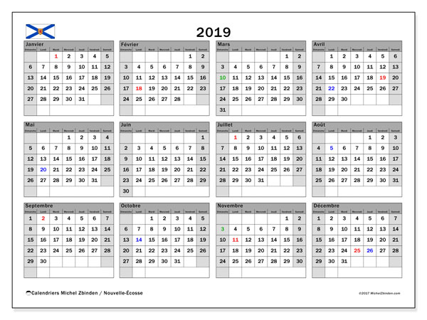 Calendrier 2019, avec les jours fériés de la Nouvelle-Écosse. Calendrier gratuit à imprimer.