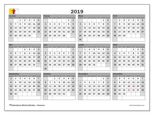 Calendrier 2019, avec les jours fériés du Nunavut. Organisateur à imprimer gratuit.
