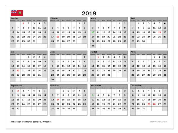 Calendrier 2019, avec les jours fériés de l'Ontario. Calendrier mensuel à imprimer gratuit.