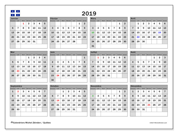 Grille Calendrier 2019.Calendrier 2019 Quebec Canada Michel Zbinden Fr
