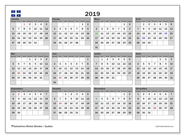 Calendrier 2019 qu bec for Jours de conges pour demenagement