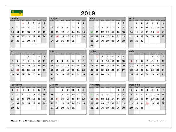 Calendrier 2019, avec les jours fériés de la Saskatchewan. Planificateur à imprimer gratuit.