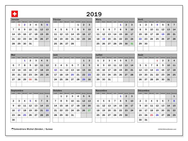Calendrier  2019, suisse