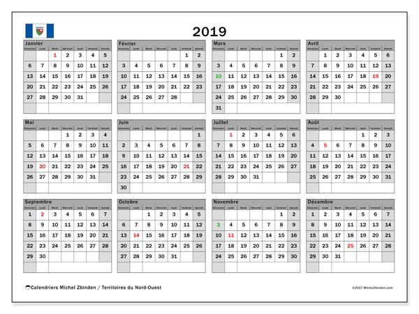 Calendrier 2019, avec les jours fériés des Territoires du Nord-Ouest. Calendrier mensuel à imprimer gratuit.