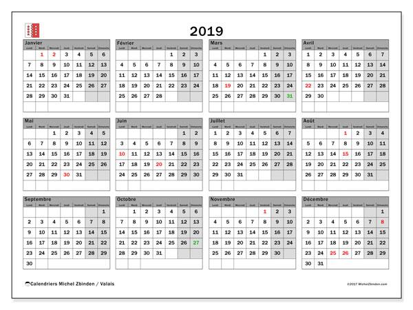 Calendrier 2019, avec les jours fériés du Canton du Valais. Planificateur à imprimer gratuit.