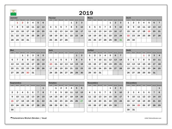 Calendrier 2019, avec les jours fériés du Canton de Vaud. Calendrier à imprimer gratuit.
