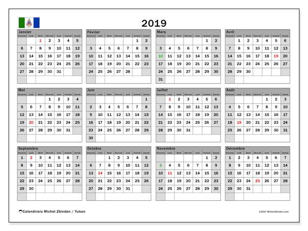 Calendrier 2019 - Yukon. Calendrier à imprimer : jours fériés officiels.
