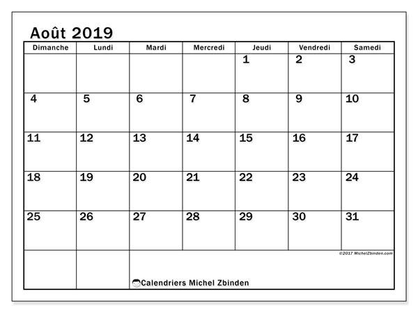 Calendrier août 2019, 50DS. Planificateur à imprimer gratuit.