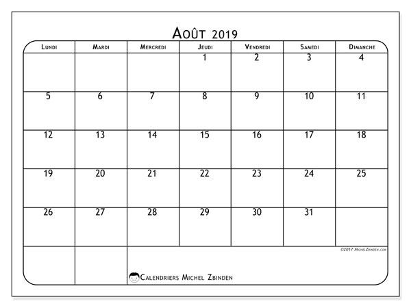 Calendrier août 2019, 51LD. Calendrier à imprimer gratuit.