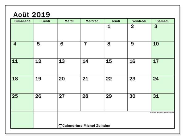 Calendrier août 2019, 60DS. Organisateur à imprimer gratuit.