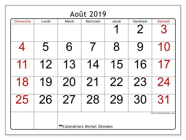 Calendrier août 2019, 62DS. Calendrier mensuel à imprimer gratuit.