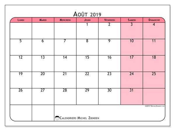 Calendrier août 2019, 64LD. Planificateur à imprimer gratuit.