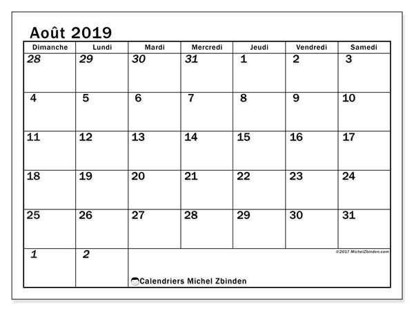 Calendrier août 2019, 66DS. Calendrier pour le mois à imprimer gratuit.
