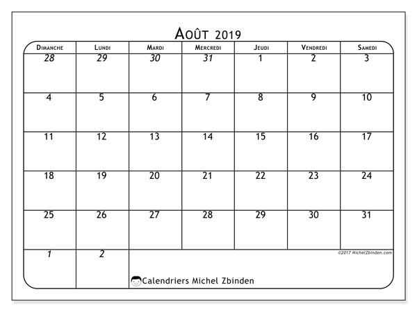 Calendrier août 2019, 67DS. Calendrier mensuel à imprimer gratuit.