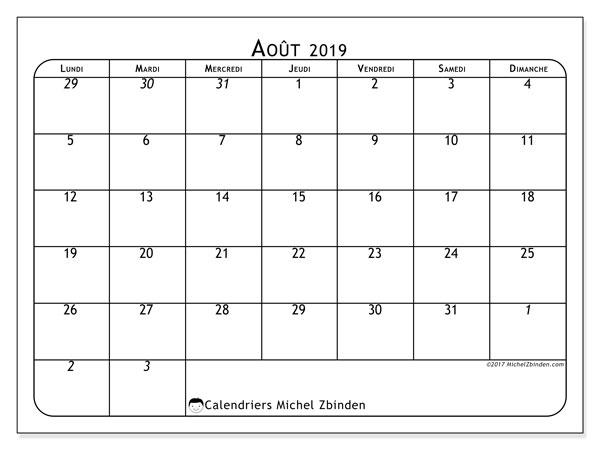 Calendrier août 2019, 67LD. Calendrier pour le mois à imprimer gratuit.