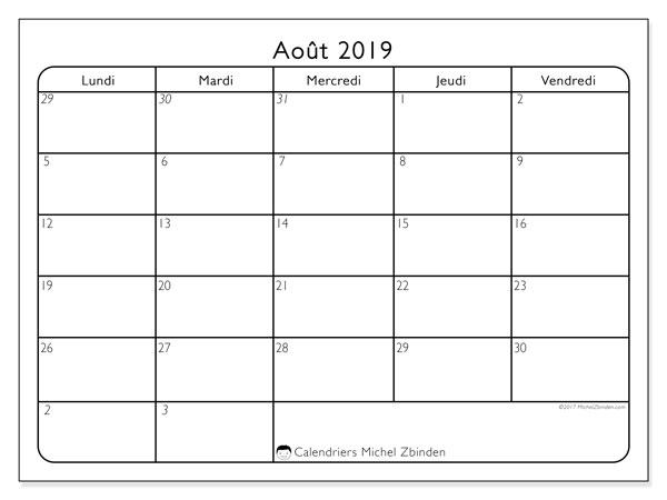 Calendrier août 2019, 74DS. Organisateur à imprimer gratuit.