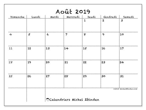 Calendrier août 2019, 77DS. Organisateur à imprimer gratuit.