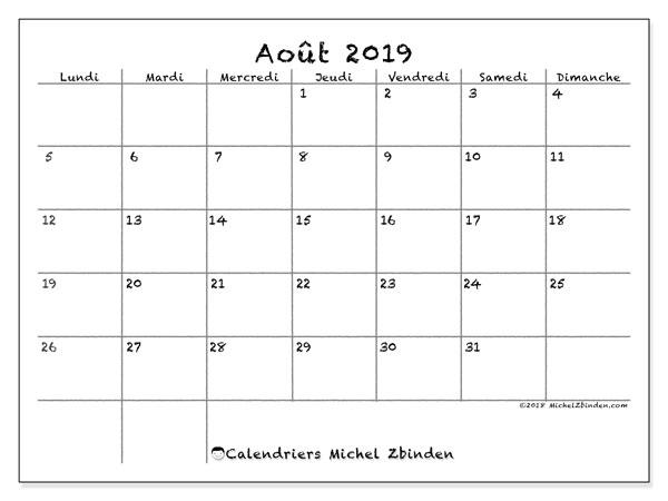 Calendrier août 2019, 77LD. Calendrier mensuel à imprimer gratuit.
