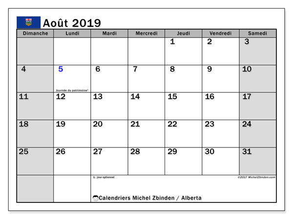 Calendrier août 2019, avec les jours fériés de l'Alberta. Calendrier pour le mois à imprimer gratuit.