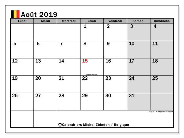 Calendrier août 2019, avec les jours fériés de la Belgique. Calendrier pour le mois à imprimer gratuit.