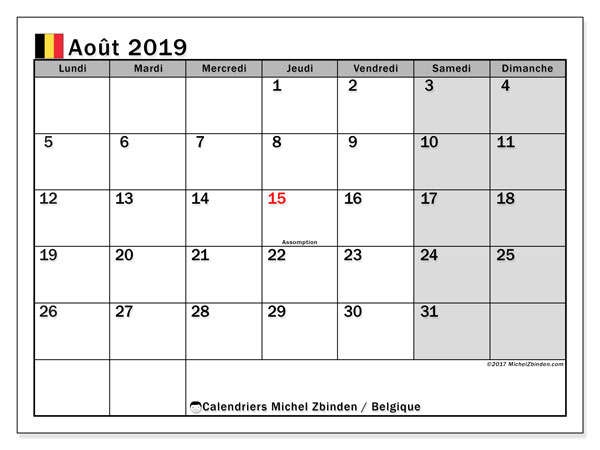 Calendrier  août 2019, Belgique
