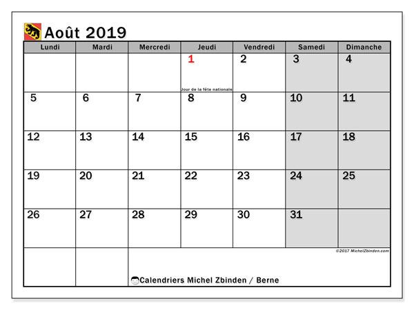 Calendrier août 2019, avec les jours fériés du Canton de Berne. Calendrier à imprimer gratuit.