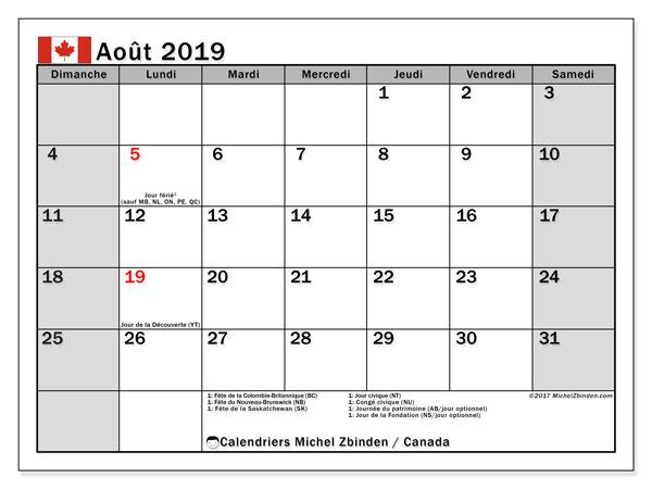 Calendrier 2019 Mois Par Mois A Imprimer.Calendrier Aout 2019 Canada Michel Zbinden Fr