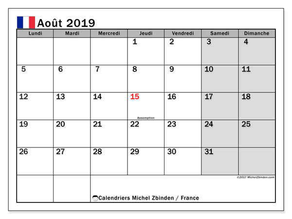 Calendrier août 2019, avec les jours fériés de la France. Calendrier à imprimer gratuit avec jours fériés.