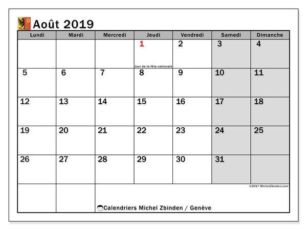 Calendrier août 2019, avec les jours fériés du Canton de Genève. Calendrier à imprimer gratuit avec jours fériés.