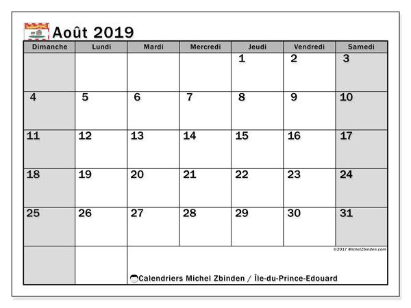 Calendrier août 2019, avec les jours fériés de l'Île-du-Prince-Edouard. Calendrier à imprimer gratuit.