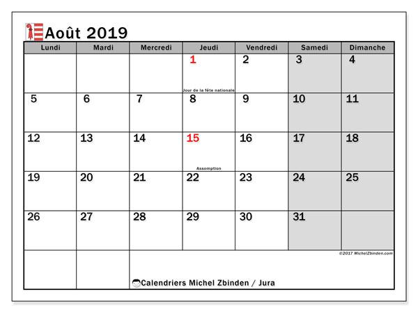 Calendrier août 2019, avec les jours fériés du Canton du Jura. Calendrier Fêtes et jours fériés à imprimer gratuit.