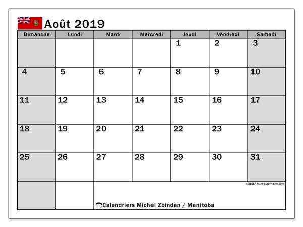 Calendrier août 2019, avec les jours fériés du Manitoba. Calendrier Fêtes et jours fériés à imprimer gratuit.