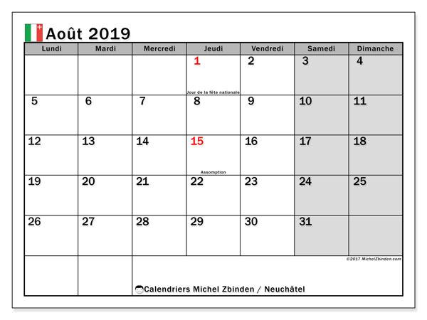 Calendrier août 2019, avec les jours fériés du Canton de Neuchâtel. Calendrier pour le mois à imprimer gratuit.
