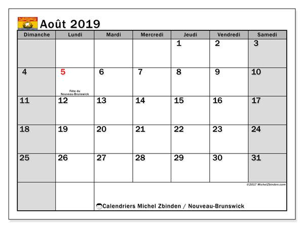 Calendrier août 2019, avec les jours fériés du Nouveau-Brunswick. Planificateur à imprimer gratuit.