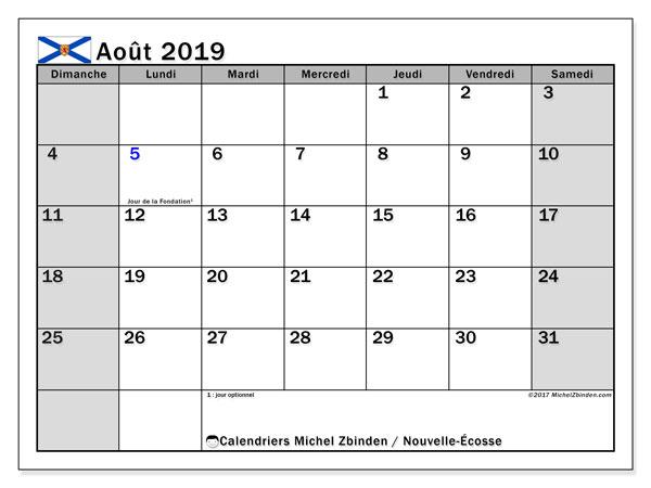 Calendrier août 2019, avec les jours fériés de la Nouvelle-Écosse. Calendrier à imprimer gratuit.