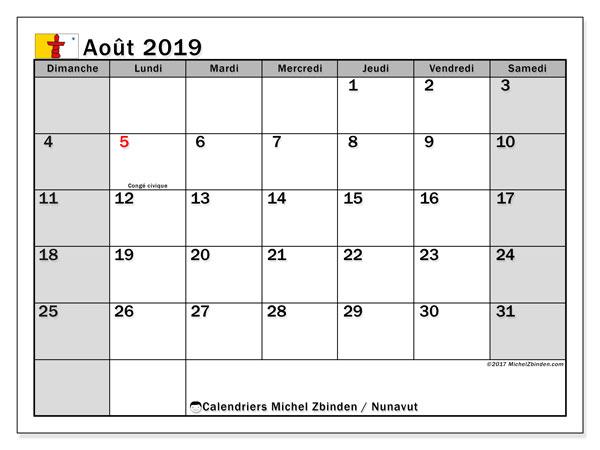 Calendrier août 2019, avec les jours fériés de le Nunavut. Calendrier à imprimer gratuit avec jours fériés.