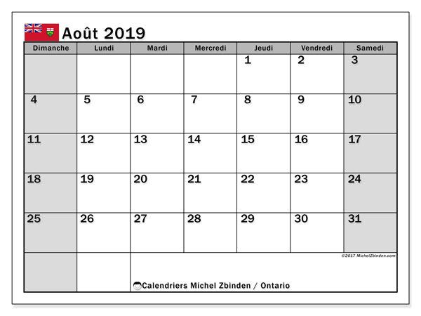 Calendrier août 2019, avec les jours fériés de l'Ontario. Planificateur à imprimer gratuit.