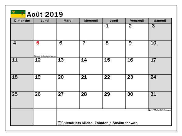 Calendrier août 2019, avec les jours fériés de la Saskatchewan. Planificateur à imprimer gratuit.