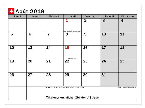 Calendrier août 2019 - Suisse. Calendrier à imprimer : fêtes et jours fériés.