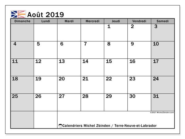 Calendrier août 2019, avec les jours fériés de Terre-Neuve-et-Labrador. Calendrier à imprimer gratuit.