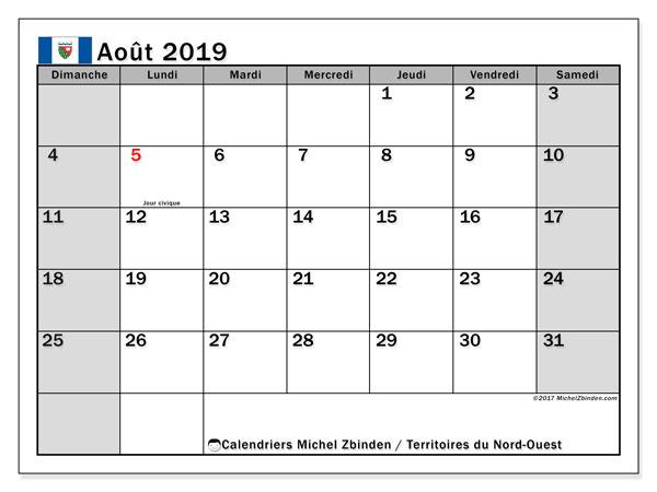 Calendrier août 2019, avec les jours fériés des Territoires du Nord-Ouest. Organisateur à imprimer gratuit.