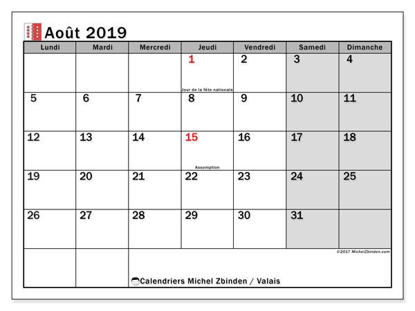 Calendrier août 2019, avec les jours fériés du Canton du Valais. Calendrier pour le mois à imprimer gratuit.