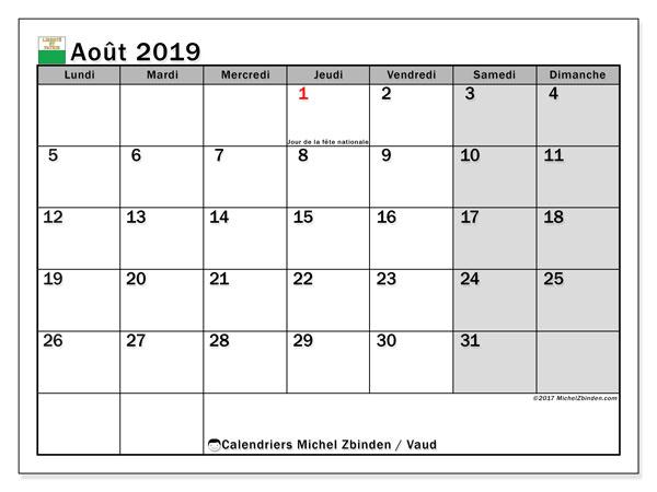 Calendrier août 2019, avec les jours fériés du Canton de Vaud. Planificateur à imprimer gratuit.