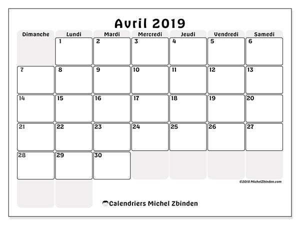 Calendriers avril 2019 (DS).  44DS.