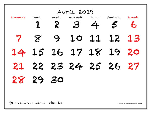 Calendriers avril 2019 (DS).  46DS.