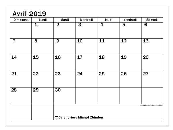 Calendrier avril 2019 (50DS)