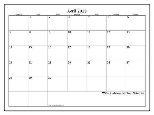 Calendrier avril 2019 (53DS)